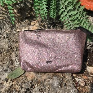 Ipsy pink multicolored cosmetic bag, NWOT